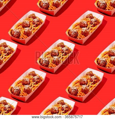 Creative Seamless Pattern Of Spaghetti And Meatballs With Tomato Sauce In Takeaway Packaging Box On