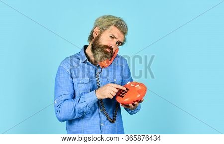Smart Ideas. Man Talking To Vintage Phone. Businessman Talking On Vintage Phone. Buy New Gadget. Pho