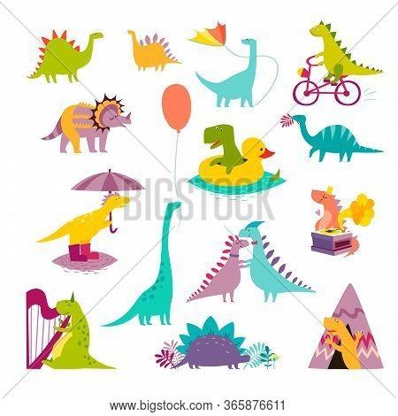 Dinosaur Big Funny Set Vector Illustration. Cute T-rex Cartoon Style. Dino Colorful Character Isolat