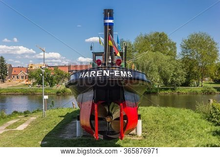 Haren, Germany - May 09, 2020: Historic Tugboat At The Maritime Museum In Haren, Germany