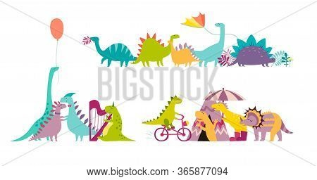 Dinosaurus Party Doodle Hand Drawn Vector Illustration Set. Cute Dinos Illustrations Collection. Hap