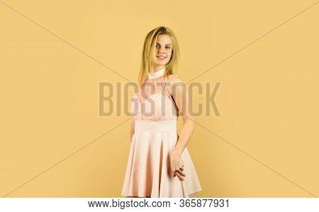Be Fabulous. Dress Rental Service. Tender Woman In Cute Dress. Adorable Blonde. Pretty Girl. Fashion