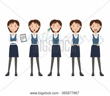 Multitasking Business Lady Character Set With Different Poses, Emotions, Gestures. Animation Constru