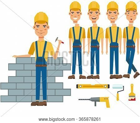 Construction Worker Building Wall Character Set With Different Poses, Emotions, Gestures. Part Of Bo