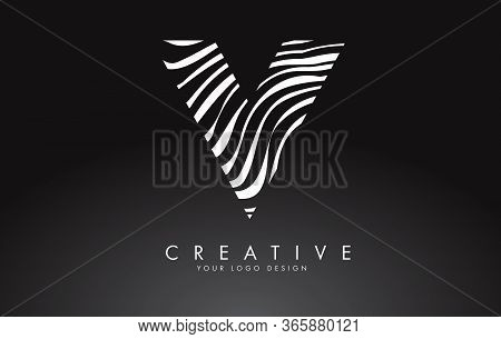 V Letter Logo Design With Fingerprint, Black And White Wood Or Zebra Texture On A Black Background.