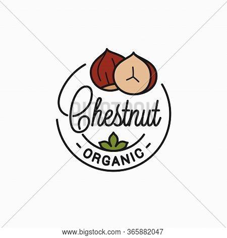 Chestnut Nut Logo. Round Linear Of Chestnut