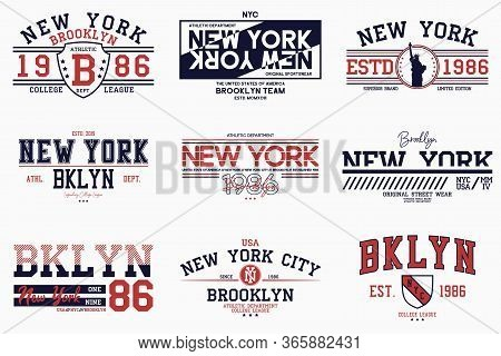 Set Of Brooklyn, New York Slogan Prints For T-shirt. Typography Graphics For College Tee Shirt. Ny S