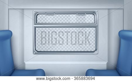 Train Wagon Interior With Seats, Window And Gray Wall. Vector Realistic Transparent Glass Window Wit