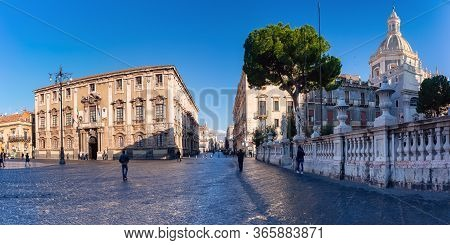 The First Sunray On Via Etnea And Piazza Duomo With The Cathedral Of Santa Agatha And Town Hall At S