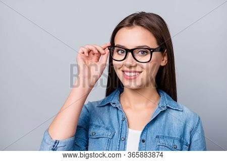 Close-up Portrait Of Her She Nice Attractive Lovely Charming Winsome Cheerful Cheery Content Brown-h