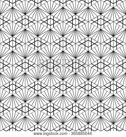 Seamless Pattern Based On Japanese Ornament Kumiko Black And White Silhouette.average Thickness Line
