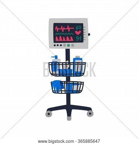 Ecg Machine. Cardiac Monitor Displaying Heartbeat - Medical Equipment. Flat Style Vector Illustratio