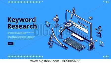 Keyword Research Isometric Landing Page. Seo Keywording Analysis Tool. People And Ai Robots At Huge