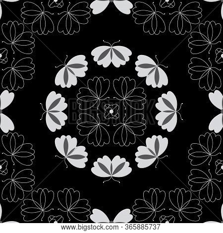 Seamless Pattern With Butterflies And Hearts. Color Black, White And Grey. Vector.