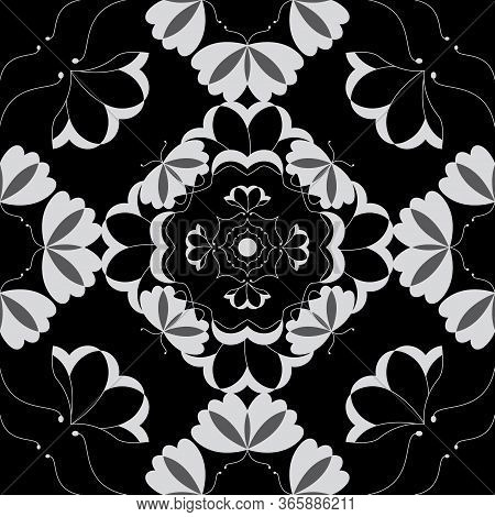 Seamless Pattern With Butterflies And Hearts. Color Black, White And Grey. Vector