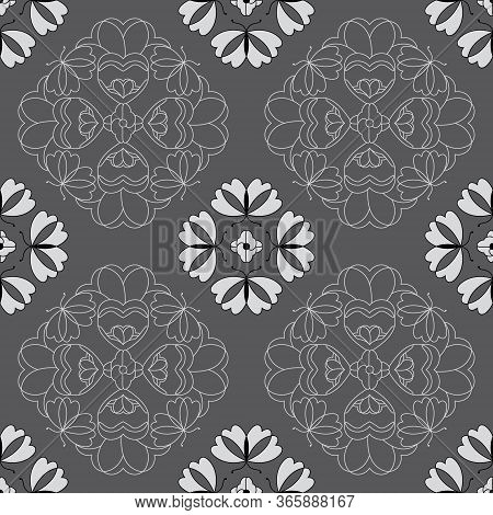 Seamless Pattern With Butterflies And Hearts. Color Grey, White And Black. Vector.