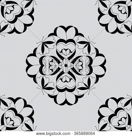 Seamless Pattern With Butterflies And Hearts. Light Grey Color And Black. Vector
