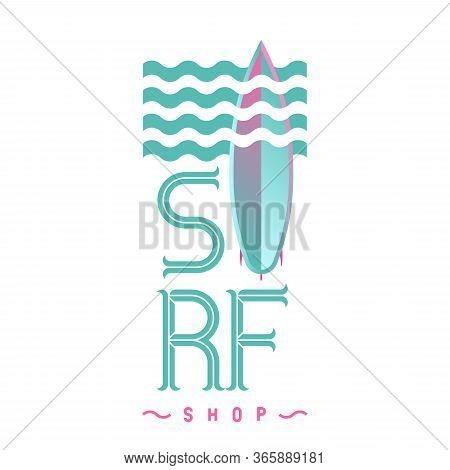 Surf Board Logo Emblem For Surf Shop Or Club Logo Design