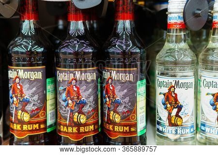 Tyumen, Russia-may 04, 2020: Captain Morgan Is A Brand Of Rum Produced By Diageo, British Multinatio