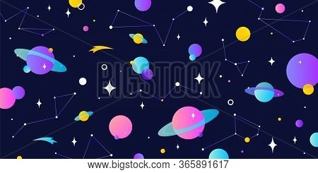 Universe, Cosmos. Universe, Cosmos And Space Background With Planet, Shining Star. Colorful Cosmos W