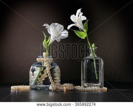 Retro Style Still Life With Two Alstroemeria Flowers In The Small Vintage Bottles And String Of Pear