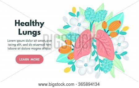 Vector Healthy Lungs On Flowers. Background For Label, Advertisement Of Pulmonary Medicine, Landing