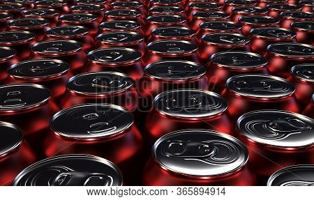 A Collection Of Red Tin Cans At The End Of A Factory Production Line - 3d Render