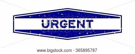 Grunge Blue Urgent Word Hexagon Rubber Seal Stamp On White Background
