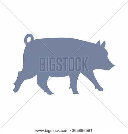 Cute French Farmhouse Pig Silhouette Vector Clipart. Hand Drawn Shabby Chic Style Country Farm Kitch