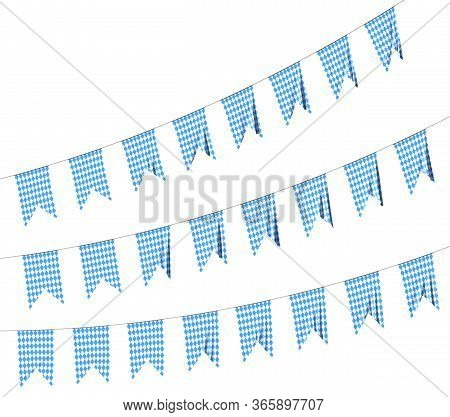 Party Flags For Oktoberfest Festival Garland Buntings Of Bavarian Checkered Blue Flag With Blue-whit