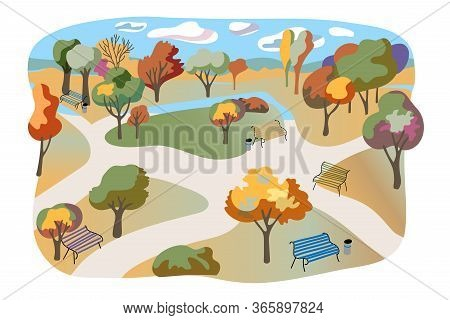 Autumn City Park Flat Illustration. Hand Drawn Parkland Isolated On White Background. Town Garden, R