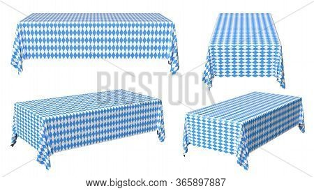Oktoberfest Rectangular Tablecloth With Blue-white Checkered Pattern Set Isolated On White, Traditio