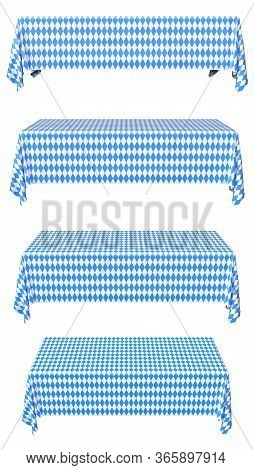 Oktoberfest Rectangular Tablecloth With Blue-white Checkered Pattern Set Isolated On White, Front Vi