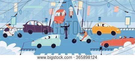 People Transport Driver Wearing Respiratory Medical Masks. Busy City Life. Traffic Cop Regulating Ve