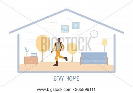 Teenager Roller Skater Stay Home Motivational Poster. Afro-american Boy Under House Roof. Abstract A