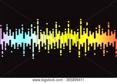 Audio Colorful Wave Logo On Black. 3d Rainbow Pulse Music Player. Fluid Design Symbol. Jpeg Equalize