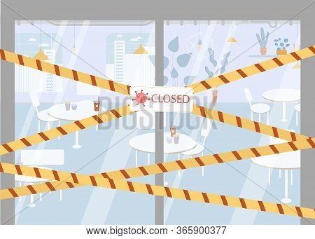 Signboard Closed Police Striped Border Tape Hanged On Restaurant Glass Door. Warning Sign, Flu Epide