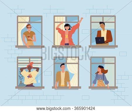 Happy Neighbors And Neighborhood. People In Window. Diverse Multiethnic Man Woman Drinking Coffee, T