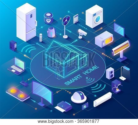 Smart Home Controlled From Smartphone, 3d Icons Vector. Internet Technology And Home Automation Syst
