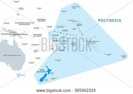 Polynesia, Subregion Of Oceania, Political Map.  A Region, Made Up Of More Than 1000 Islands Scatter