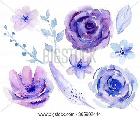 Purple Watercolour Flowers And Leaves. Violet Flower Set. Designs For Wedding Invitation, Greeting,