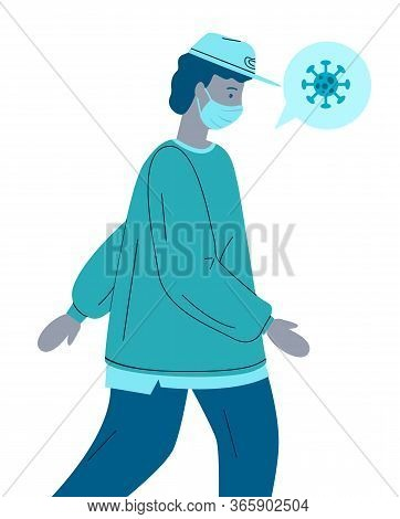 Vector Illustration Of Young Infected Virus Man Wearing Face Medical Mask. Viral Pandemic, Guy Trans
