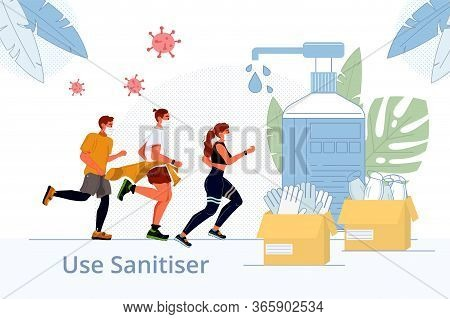 Disinfection Sanitization Human Health Protection. Active Sport Man Woman Running To Disinfectants,