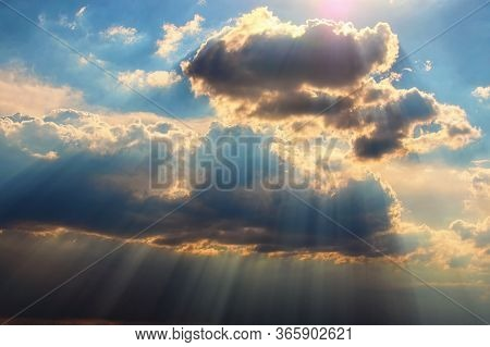 Astonishing Blue Sky With Colorful White Clouds. Abstract Sun Beam Line Light Shining Through The Cl