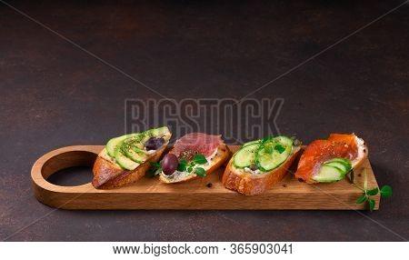 Bruschetta With Salmon. Bruschetta With Tuna. Bruschetta With Red Fish.