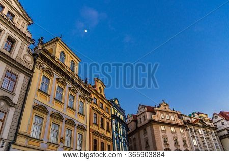 Row Of Buildings With Colorful Facades In Prague Old Town Stare Mesto Historical City Centre On Old