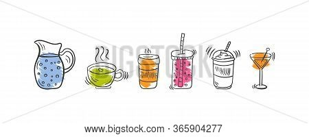 Set Of Cocktails For Party. Cocktails Or Fresh Juice With A Drinking Straw. Set Of Various Doodle, H