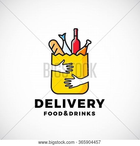 Food And Drinks Delivery Abstract Vector Sign Or Logo Template. Paper Bag With Hands, Bread, Wine, F