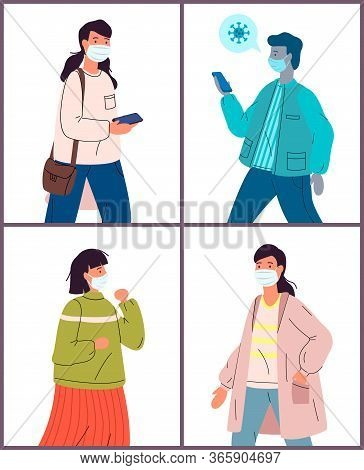 Set Of Flat Vector Illustrations With Healthy And Unhealthy People In Medical Masks. Viral Pandemic