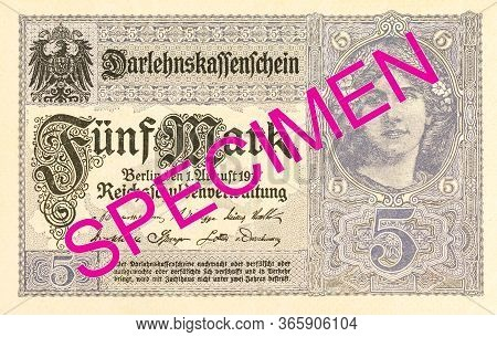 A Single 5 German Mark Bank Note (1917) Obverse